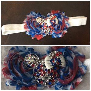 Other - Minnie Themed Red White & Blue Gemstone Headband